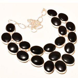 "Black Onyx Gemstone Designer Necklace 18"""
